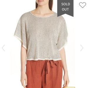 Eileen Fisher Linen Black and White Striped Top